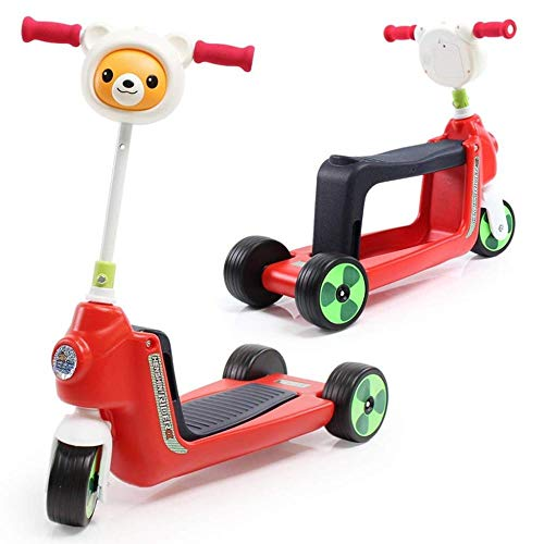 2-in-1-Mehrzweck-Kinder-Roller Kinder-Dreiräder mit Musik Baby Spielzeugauto Twist Car Kick Scooter Liftable Seat Sitzbank Rideable ()