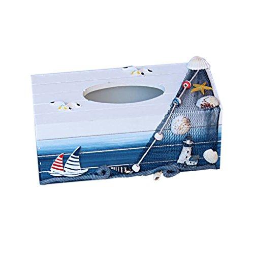 Gazechimp Maritime Holz Kosmetiktücherbox Segelboot (Strand Cover Tissue Box)
