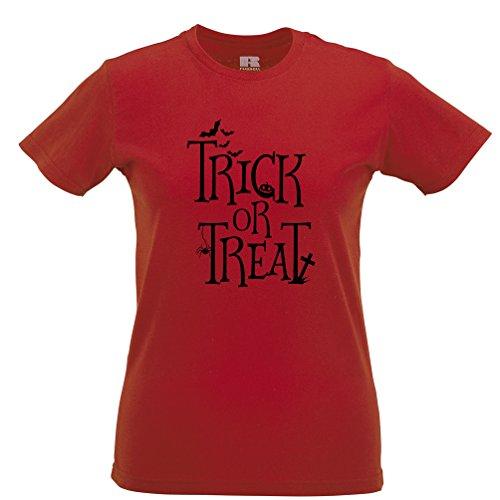 Trick or Treat Gedruckt Slogan Zitat Design Premium-Qualität Frauen (Kostüm Teufel Damen Uk)