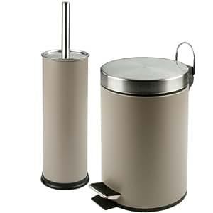 WC Garnitur Set 2-teilig Mülleimer & WC-Bürste (Taube)