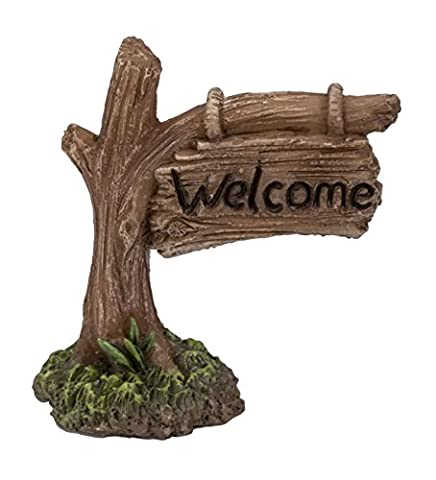Miniature World Welcome Tree Trunk Sign Ornament - Brown