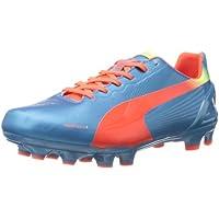 PUMA Zapatillas de f¨²tbol para suelo firme Evospeed 3.2 para hombre, tiburones azules / naranja fluorescente / amarillo fluorescente, 9 m US