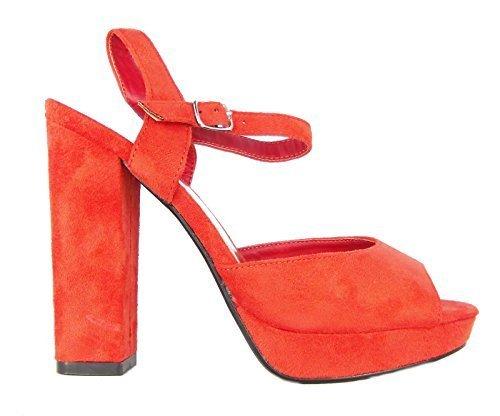 Femmes Odeon Faux Daim Sandales Plateforme Bout Ouvert Chaussures Décontractées Classiques Rouge