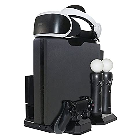 All-in-1 Vertikaler Ständer Ladestation - Multi Charger Docking Station / Halterung für PS VR Headset Display / Vertical Stand - Standfuß mit Lüfter Kühler für PlayStation, PS4, Pro, Slim console, DualShock 4 und 2 Move Motion Controller