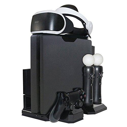 PlayStation Vertikaler Standfuß - ElecGear PSVR Headset vertikal Ständer Halterung, Lüfter Kühler, ladestation ladegerät Charger mit PS VR Brille Stand für DualShock, Move Controller, PS4, Pro, Slim