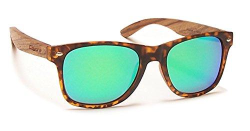Coyote Eyewear Woodie Polarisierte Sonnenbrille mit natürlichem Holz Tempel, deliktrechts/Zebrano/grün Spiegel