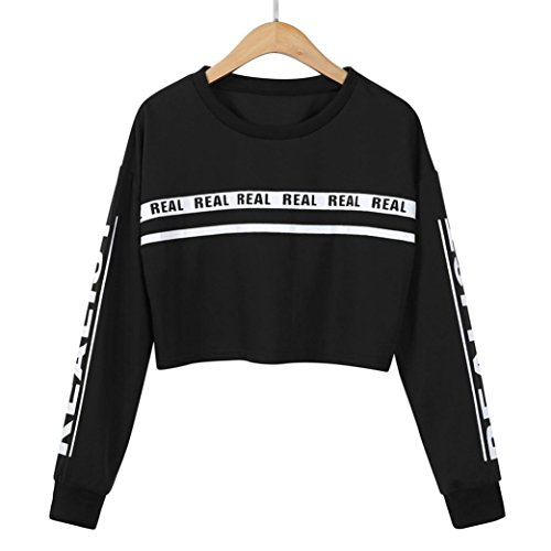 AmazingDays Chemisiers T-Shirts Tops Sweats Blouses,Femme Blouse de La Mode Lettre Blanche DImpression de Culture de Pull Black