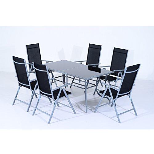 Conjunto de Muebles de Jardín con Mesa y 6 Sillas Plegables de Metal tipo Mesa Comedor de Vidrio Templado y Aluminio
