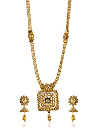 Reeti Fashions - Traditional Long Haram Geometric Motif Golden Stone Studded Necklace Set For Women (RF17_10B_...
