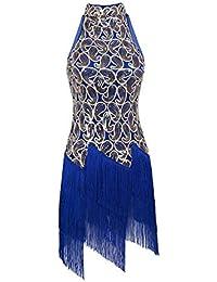 179267bc YiZYiF Vestidos de Latino con Lentejuelas Rendimiento Falda con Flecos  Clásica para Salón de Baile Danza