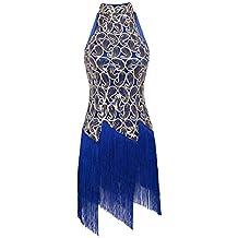 YiZYiF Vestidos de Latino con Lentejuelas Rendimiento Falda con Flecos Clásica para Salón de Baile Danza