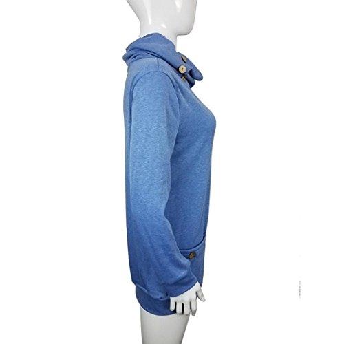 Yogogo Aux Femmes Manche Longue Bouton Col Cowl DéContractéE Svelte Hauts Tuniques Avec Les Poches blue