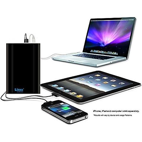 Lizone® Extra Pro 40000mAh súper capacidad Power Bank Batería Externa Cargador Portátil para Apple MacBook, Notebooks Dell, HP, Lenovo,IBM,tabletas,Móviles,Smartphones y Más -Aluminio UniBody- Negro