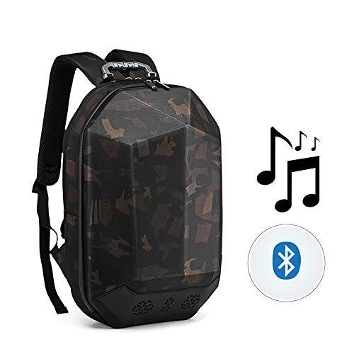 Outdoor-Musik-Rucksack, USB-Lade Bluetooth-Lautsprecher wasserdichte Tasche mit Musik-Player Dual Bass Surround Sound Geeignet für Reisen/Outdoor/Radfahren,Camouflage -