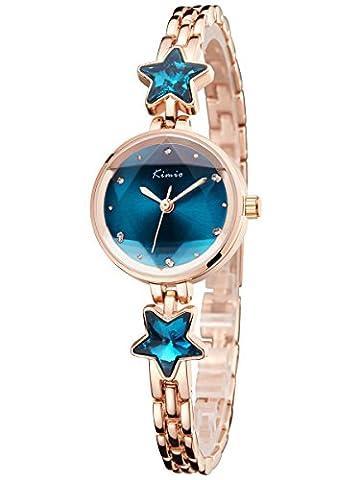 Alienwork Montre quartz bracelet chaîne emballage femme Fille strass Métal bleu or rose YH.K6201S-03
