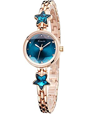 Alienwork Quarz Armbanduhr Armreif Kette wickeln Uhr Damen Uhren Mädchen Strass Metall blau rose gold YH.K6201S-03