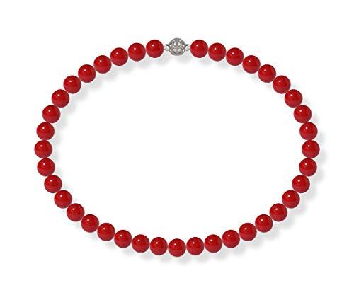 Schmuckwilli Damen Muschelkernperlen Perlenkette Rot Magnetverschluß echte Muschel 45cm dmk1005-45 (10mm)
