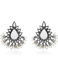 Ahilya Jewels .925 Sterling Silver Dakshin Collection Stud Earrings