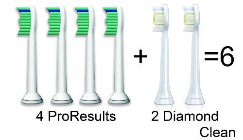 Philips Sonicare, 4er-Pack Pro Result- und 2-er Pack Diamond Clean-Bürstenköpfe, Standard (Bürstenköpfe Proresults)