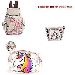 3Pcs/Set niñas Unicornio Mochila Lindo Dibujos Animados Adolescentes Bookbag Piezas de Viaje Mochila School Mochilas