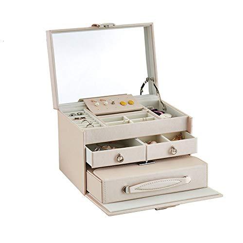 Ruxia Schmuck-Box Reise-Schmuck-Box mehrschichtige Aufbewahrungsbox mit Spiegel