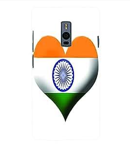 Fuson 3D Printed India Flag Designer Back Case Cover for OnePlus 2 - D611