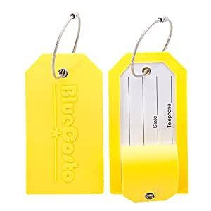 CSTOM Koffer Anhänger Namensschilder Groß Reise Zubehör - Gelb, 2-Stück