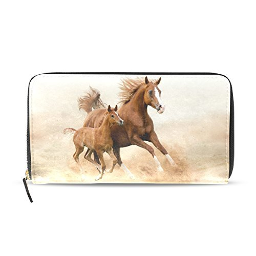 Franzibla Horse Pattern Print Women's Clutch Leather long Wallet Card Holder Purse Bag