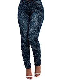 Women's Ladies Stunning Skinny Floral Print Comfy Glam Fitted Jeans