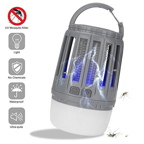 Linkax Insektenvernichter Elektrisch UV Lampe Moskito killer Mückenkiller LED Campinglampe Zeltlampe USB Wiederaufladbar und Einziehbarer Haken für Innen und Außen(Grau)