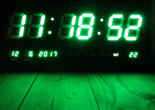 IMC LED - Wanduhr mit Zahlen grün rechteckig digital Uhr Datum Temperatur Multi S