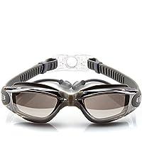 Ssowun Gafas de natación,Fletion Gafas de natación impermeables y antivaho Enchapado gafas de natación miopes planas