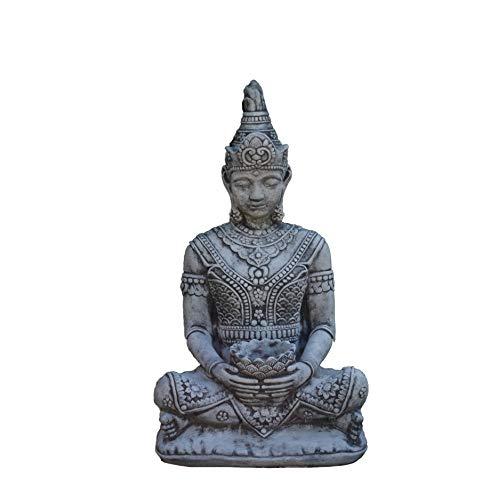 gartendekoparadies.de Massiver großer Stein Thai Buddha Torwächter dunkel-grau aus Steinguss frostfest