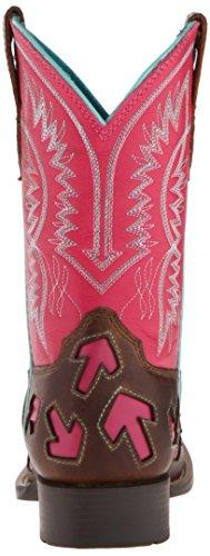 Ariat Crossway Cuir Santiags Powder Brown-Hot pink