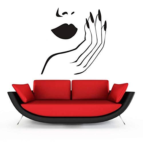 Gesichts-polnisch (xlei Wandaufkleber Nagelstudio Kunst Vinyl Wandtattoo Mode Frau Gesicht Salon Lack Polnischen Maniküre Wandaufkleber Schönheitssalon Bar Fenster Dekoration)