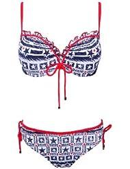 W23644 Push up Bikini Set mit Sternen und Gittern