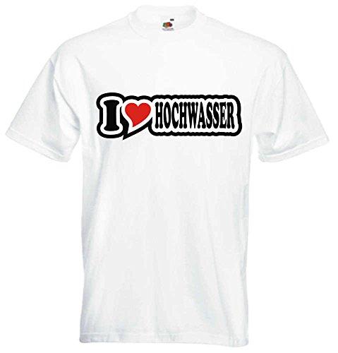 T-Shirt I Love Heart Herren I LOVE HOCHWASSER Weiß