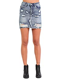 PILOT® Women's Frayed Hem Ripped Denim Mini Skirt in Denim Blue