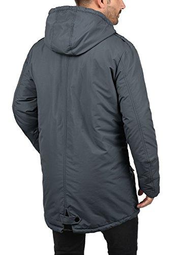 BLEND Hendrik Herren Parka Übergangsjacke lange Jacke mit Kapuze aus hochwertiger Materialqualität Ebony Grey (75111)