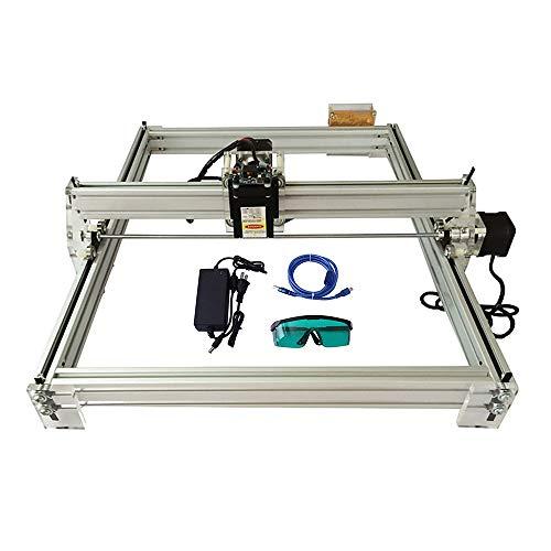 HUKOER 40X50 CM Kits de grabador láser CNC de bricolaje Máquina de grabado láser de escritorio USB Impresora láser de potencia ajustable Talla de metales, material reflectante y translúcido (5500MW)