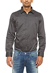 Pepe Jeans Mens Black Slim Fit Casual Shirts (Large)