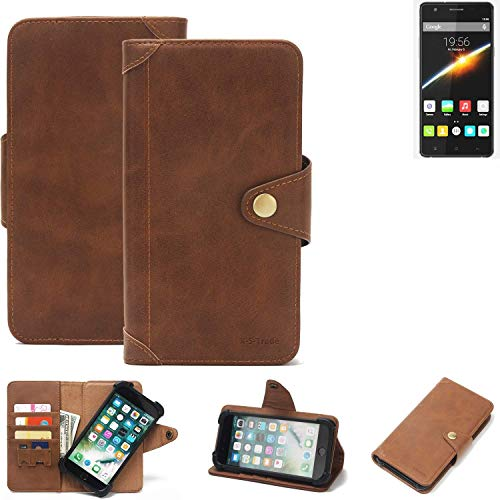 K-S-Trade® Handy Hülle Für Cubot S500 Schutzhülle Walletcase Bookstyle Tasche Handyhülle Schutz Case Handytasche Wallet Flipcase Cover PU Braun (1x)