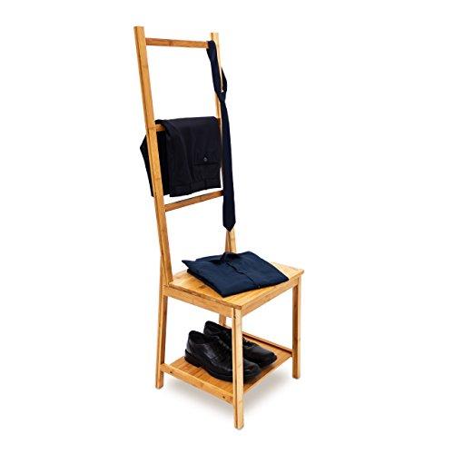 Relaxdays 10019172 Kleiderstuhl Bambus Herrendiener mit 2 Ablagen Stummer Diener aus Holz mit 3 Streben ideal für feuchte Räume als Badstuhl mit Handtuchhalter Kleiderbutler, 133 x 40 x 42 cm, natur