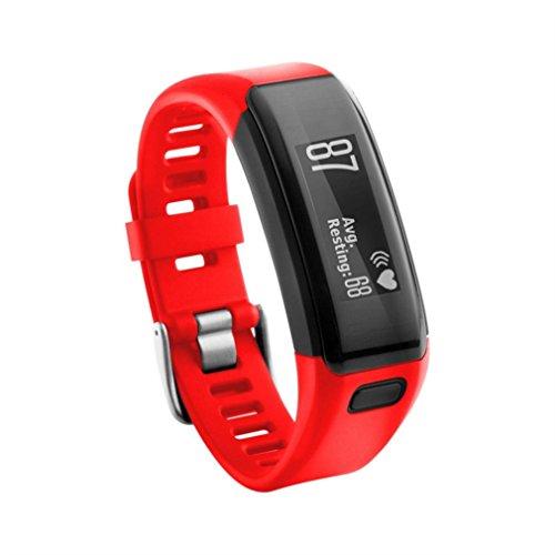 Covermason Uhrenband Intelligente Uhr Neuer Ersatz weiches Silikon rmband Bügel Armband für Garmin Vivosmart HR (Rot)