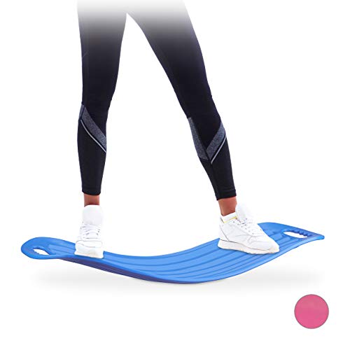 Relaxdays Tabla Equilibrio Fitness, Plástico, Azul, 9 x 65 x 28 cm, hasta 150 kg