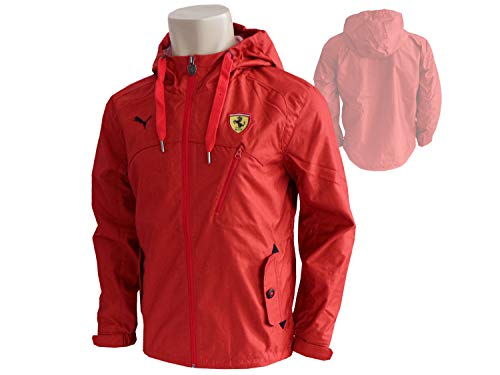 Puma Scuderia Ferrari F1 Classic Woven Jacke rot Windbreaker Regenjacke Kapuze, Größe:L
