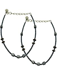 High Trendz Classy Sliver With Blue Beads Anklet For Women And Girls