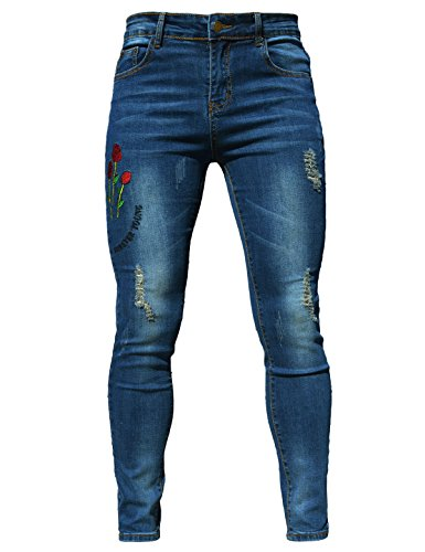 Women's Sexy Ripped Hole Jeans Thin Fabric Adjustable Skinny Trousers,Size 6-20