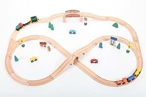point-kids Holzeisenbahn Set 49 Teile, Zug komplett Set Holz