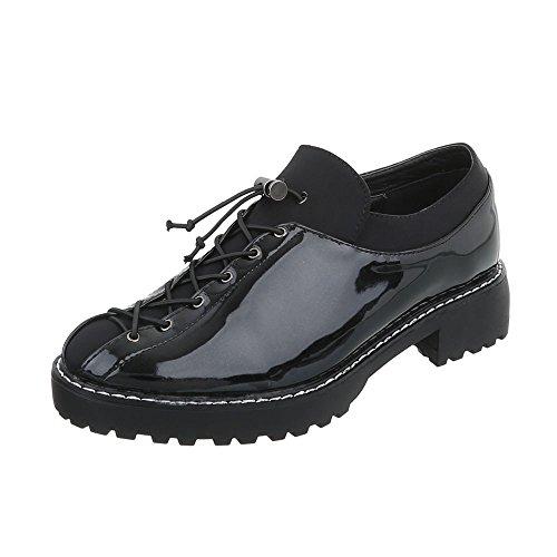 Ital-design Chaussures Femme Mocassins Sacré Block Heel Avec Dentelle Noire J-20